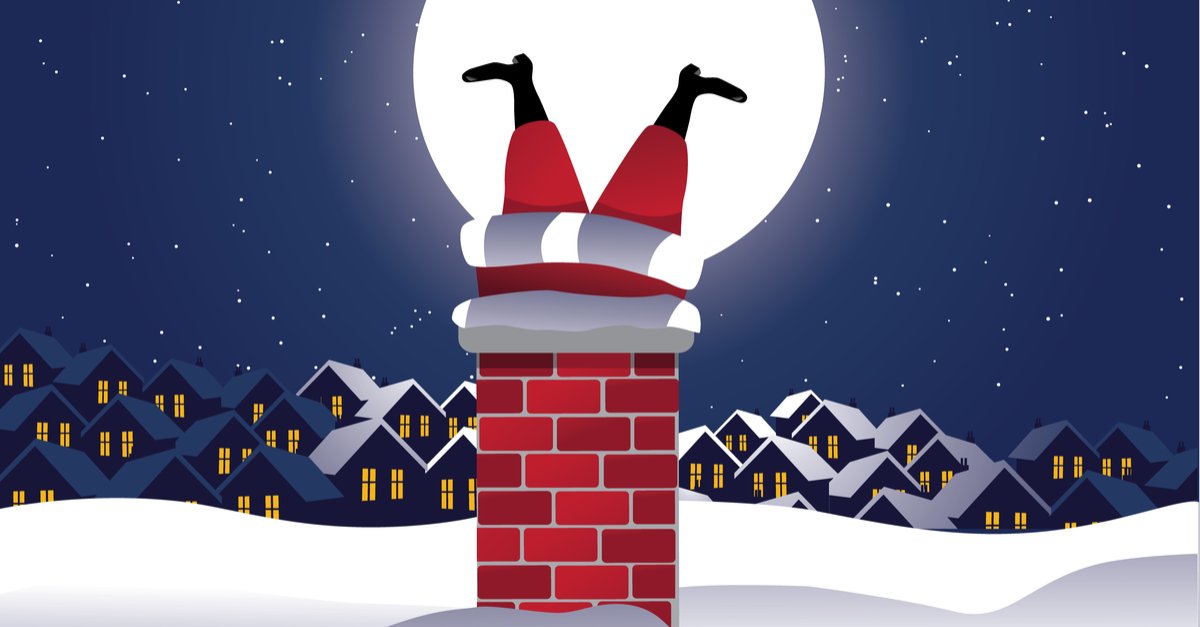 Santa Ditches 'Unsafe' Chimney Entry in Favour of Front Door